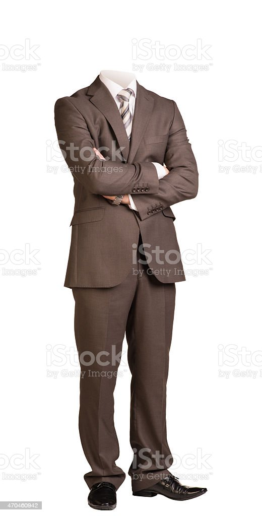 Businessman without head, standing with crossed arms. Isolated stock photo