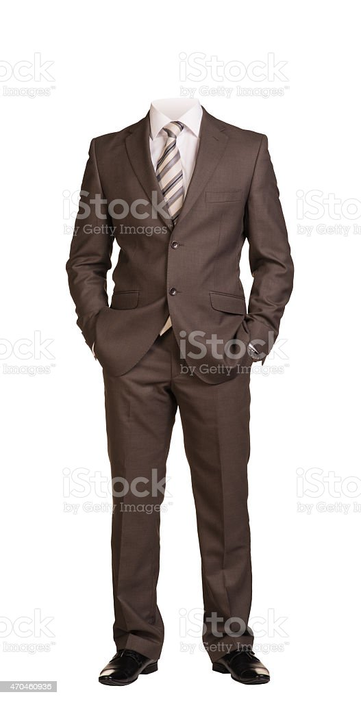 Businessman without head, standing with hands in pockets. Isolated stock photo