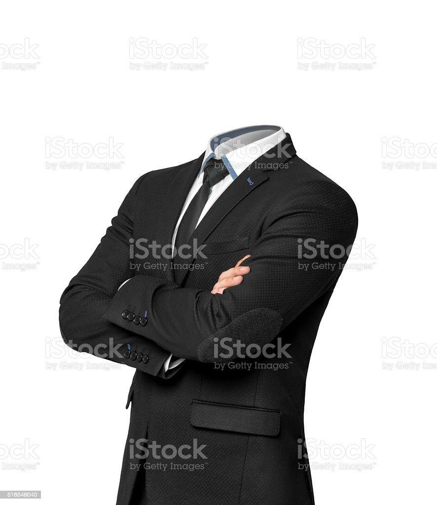 Businessman without heat isolated on white background.  Empty business suit stock photo