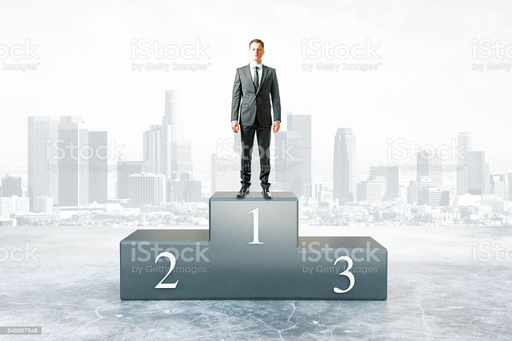 Businessman won competition stock photo