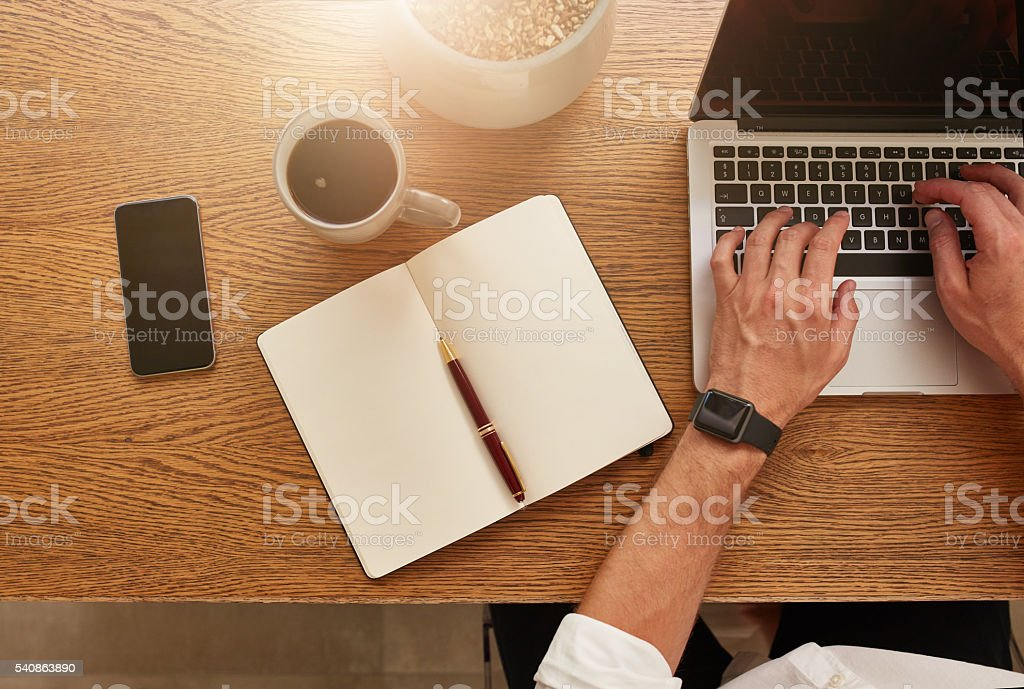 Businessman working at his desk stock photo