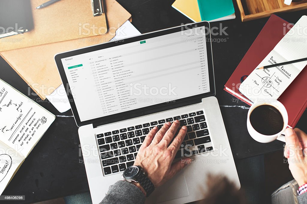 Businessman Working Email Writing Workplace Concept stock photo