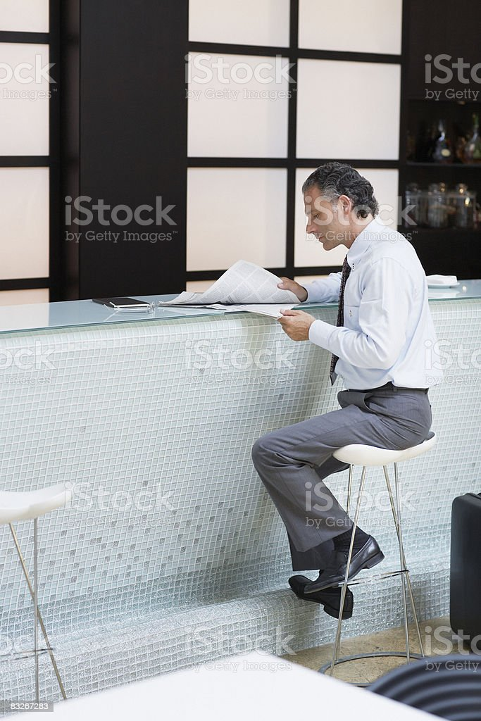 Businessman working in cafe royalty-free stock photo