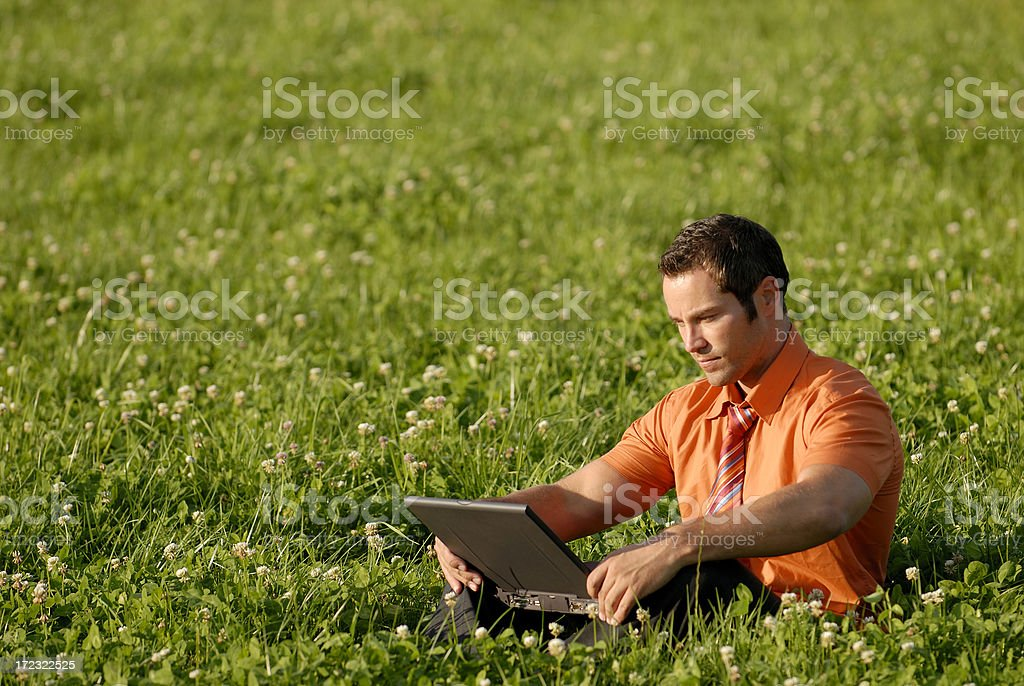 businessman working in meadow royalty-free stock photo