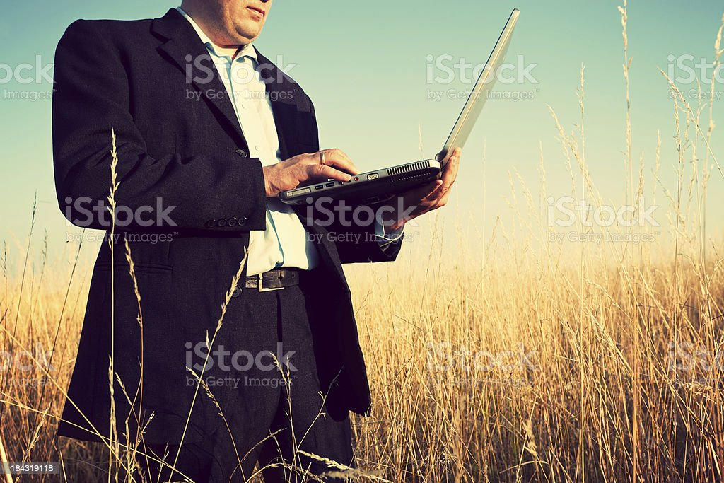 Businessman working in the field royalty-free stock photo