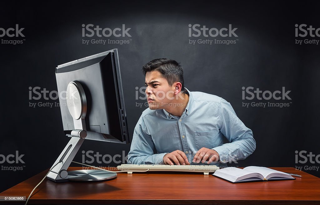 Businessman working in the office stock photo