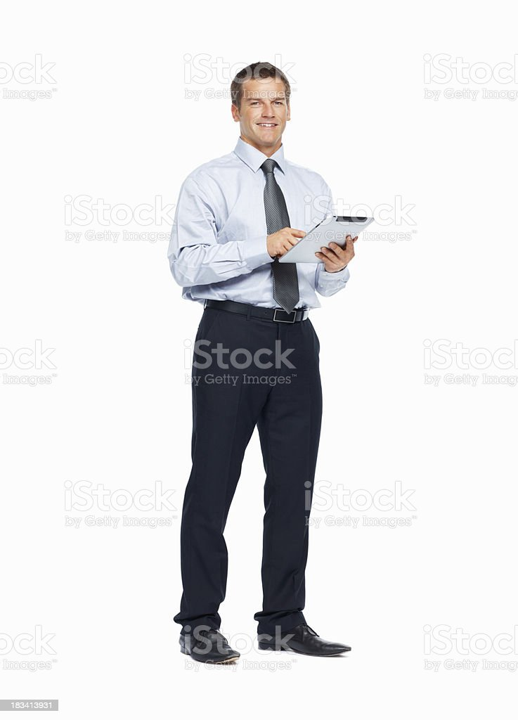 Businessman working on his touchpad royalty-free stock photo