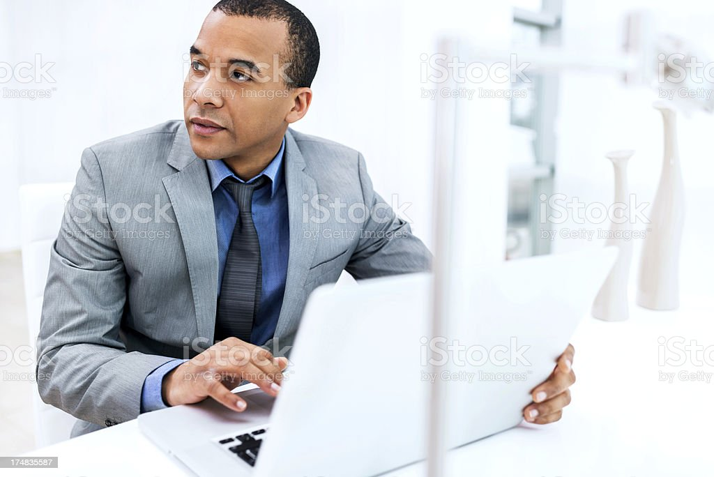 Businessman working on laptop in his office. royalty-free stock photo