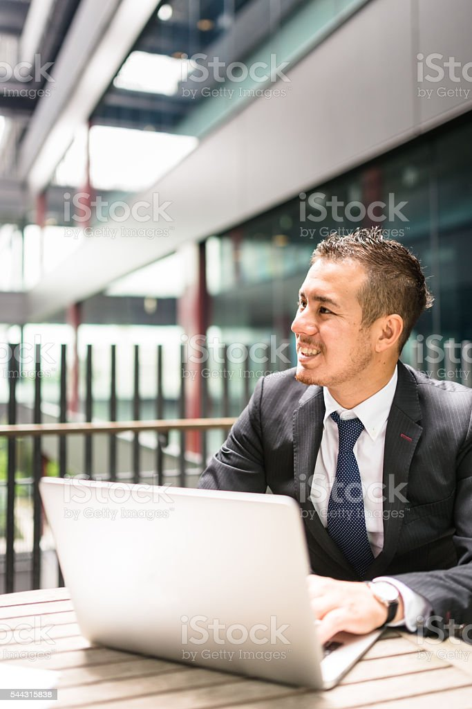 businessman working on the laptop stock photo