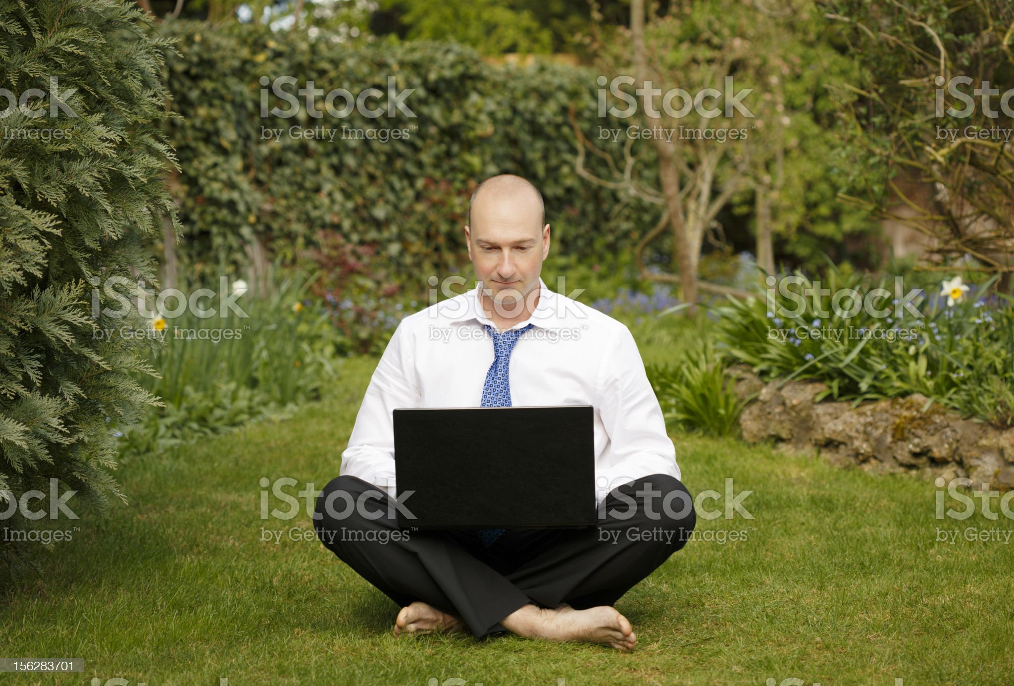 Businessman working outdoors royalty-free stock photo