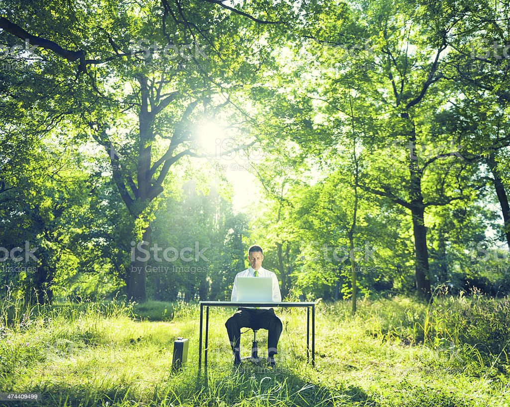 Businessman Working Outdoors stock photo