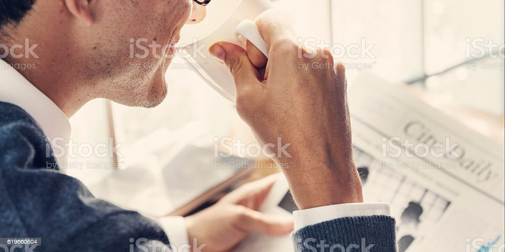 Businessman Working Reading Newspaper Information Concept stock photo
