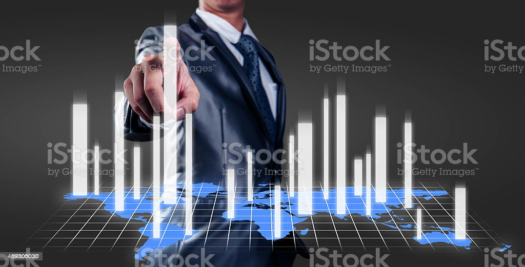 businessman working with 3d chart, business strategy concept stock photo