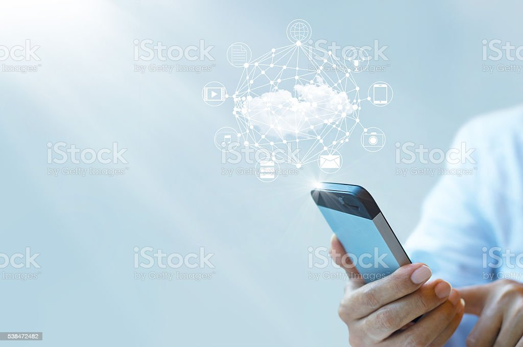 Businessman working with a Cloud Computing on Smartphone stock photo