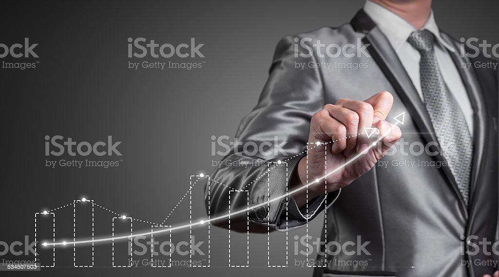 businessman working with digital chart, business improvement con stock photo