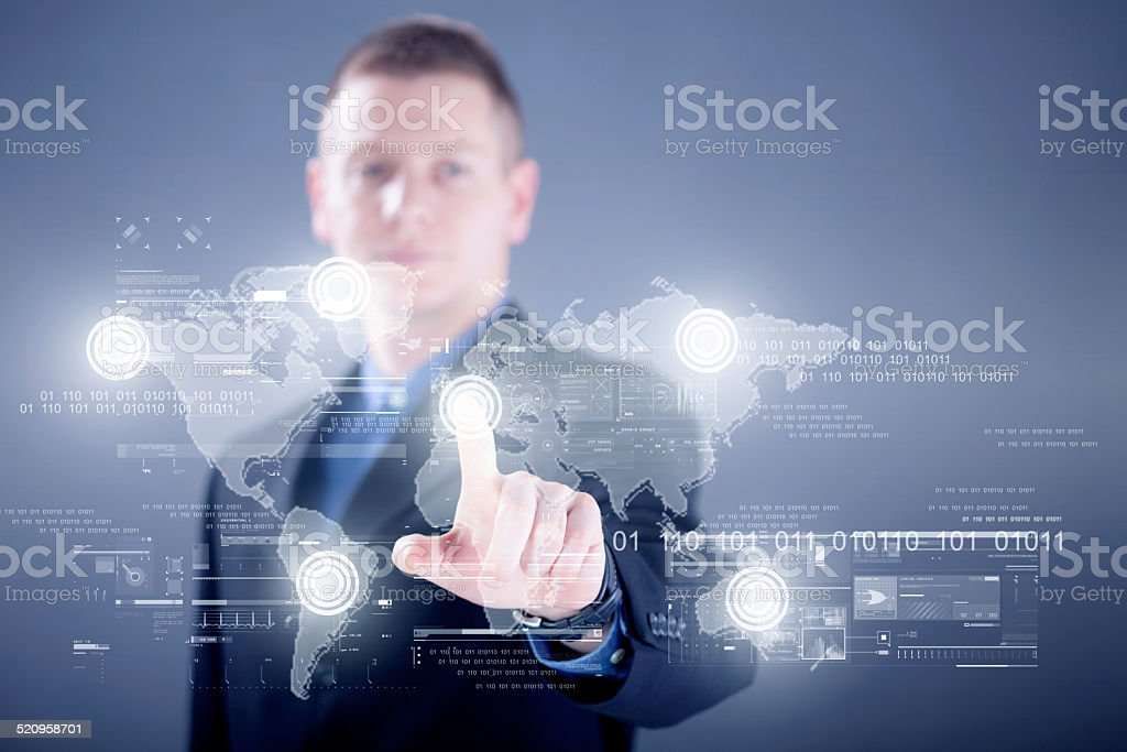 Businessman working with digital virtual screen ,business concep stock photo