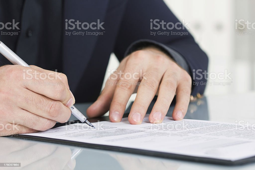 businessman  working with documents sign up contract stock photo