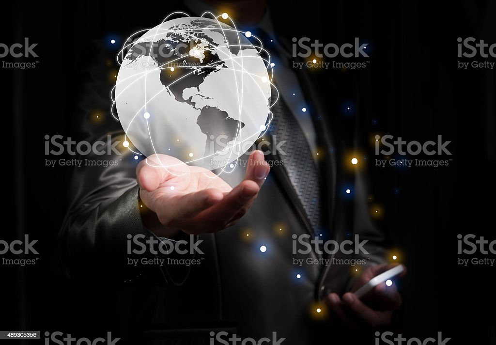 Businessman working with globalization concept, show North Ameri stock photo