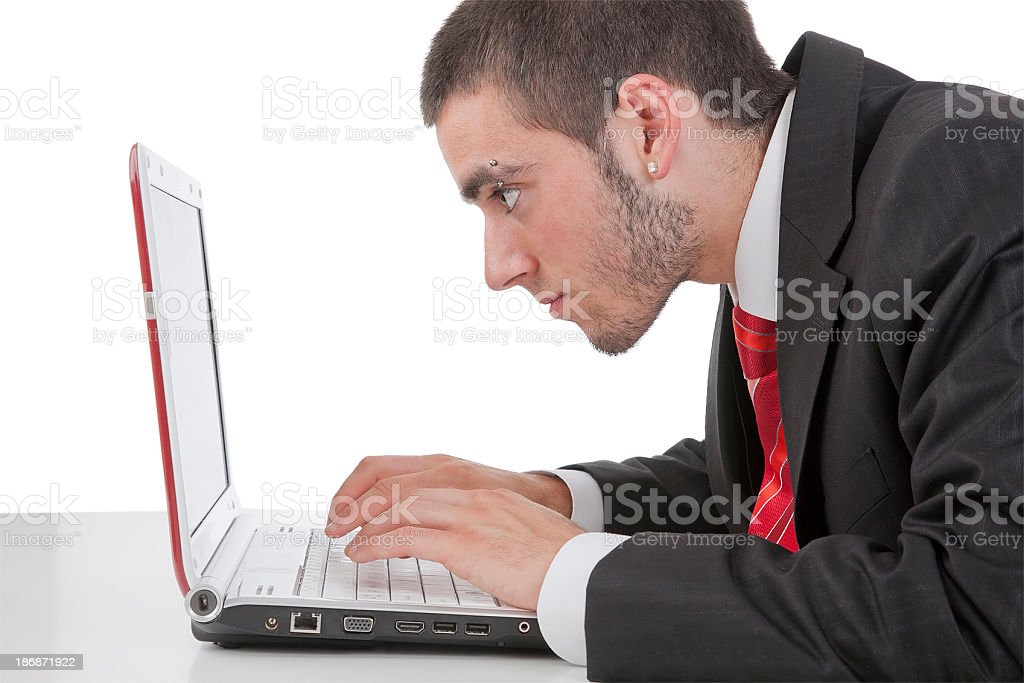 Businessman working with laptop,on the table stock photo