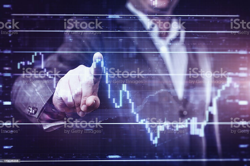 Businessman working with modern computer interface stock photo