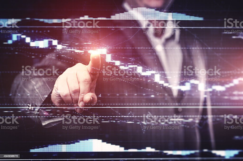 Businessman working with modern computer stock photo