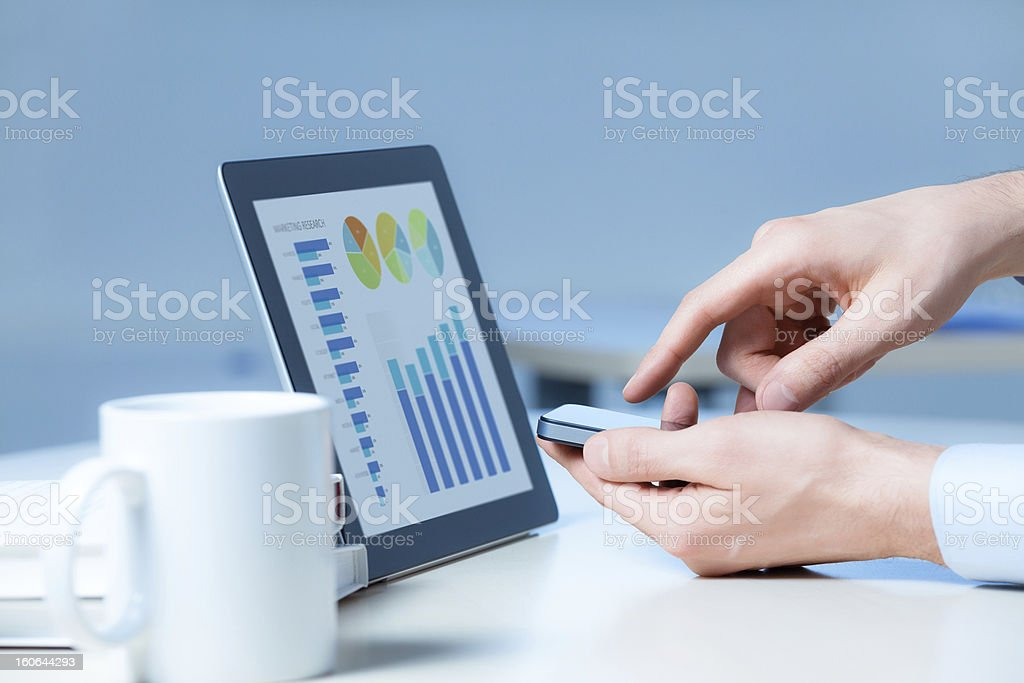 Businessman Working With Modern Devices royalty-free stock photo