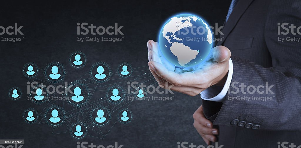 businessman working with new modern computer show social network royalty-free stock photo