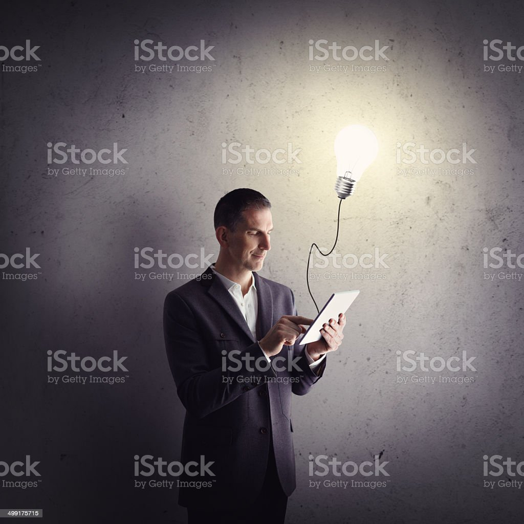 Businessman working with tablet computer royalty-free stock photo