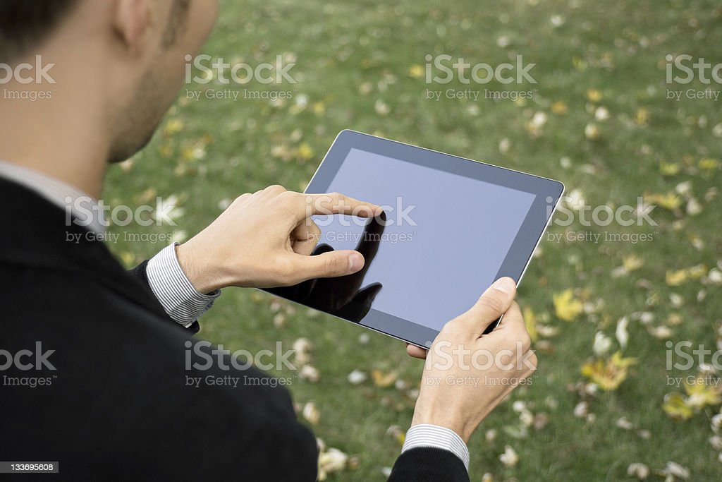 Businessman Working With Tablet PC royalty-free stock photo
