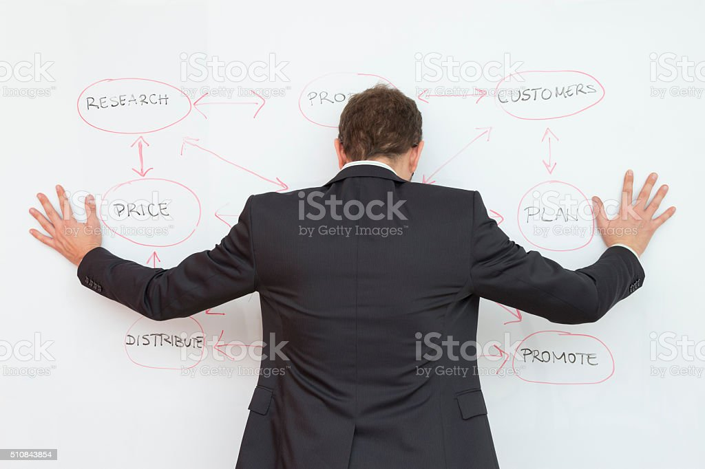 Businessman worried about business strategy stock photo