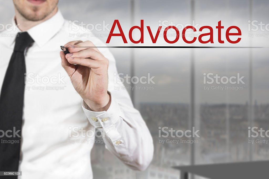 businessman writing advocate in the air stock photo