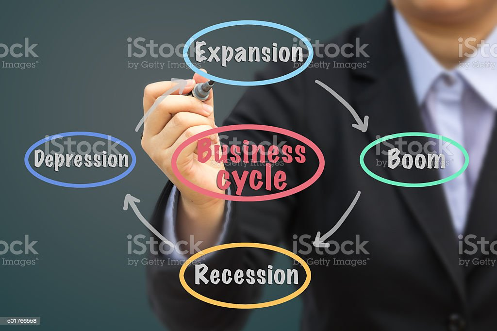 Businessman writing Business cycle relation concept (Pastel tone). stock photo