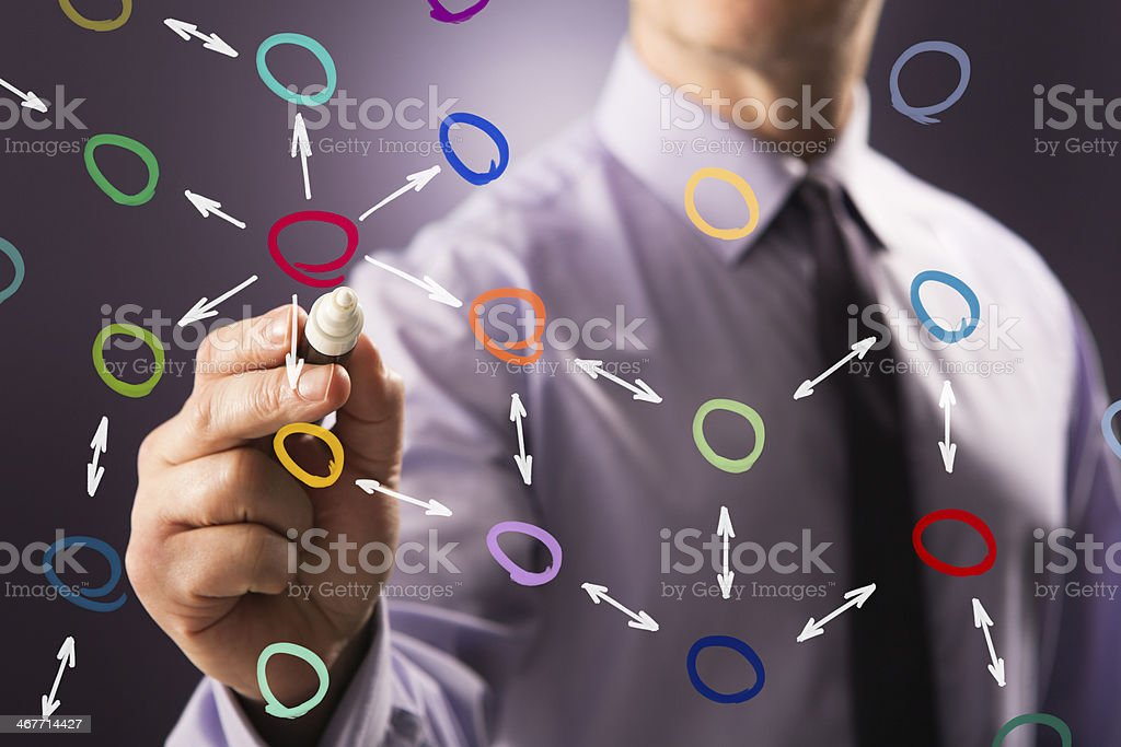 Businessman writing complex organisation structure on screen stock photo