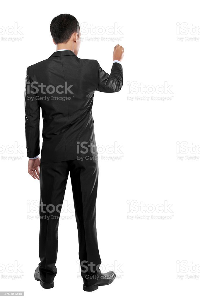 Businessman writing, drawing on the screen stock photo