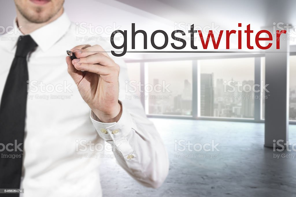 businessman writing ghostwriter in the air stock photo
