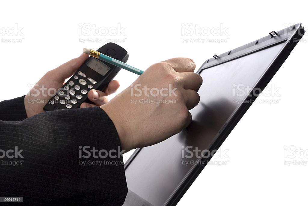 Businessman writing notes on a touchscreen royalty-free stock photo