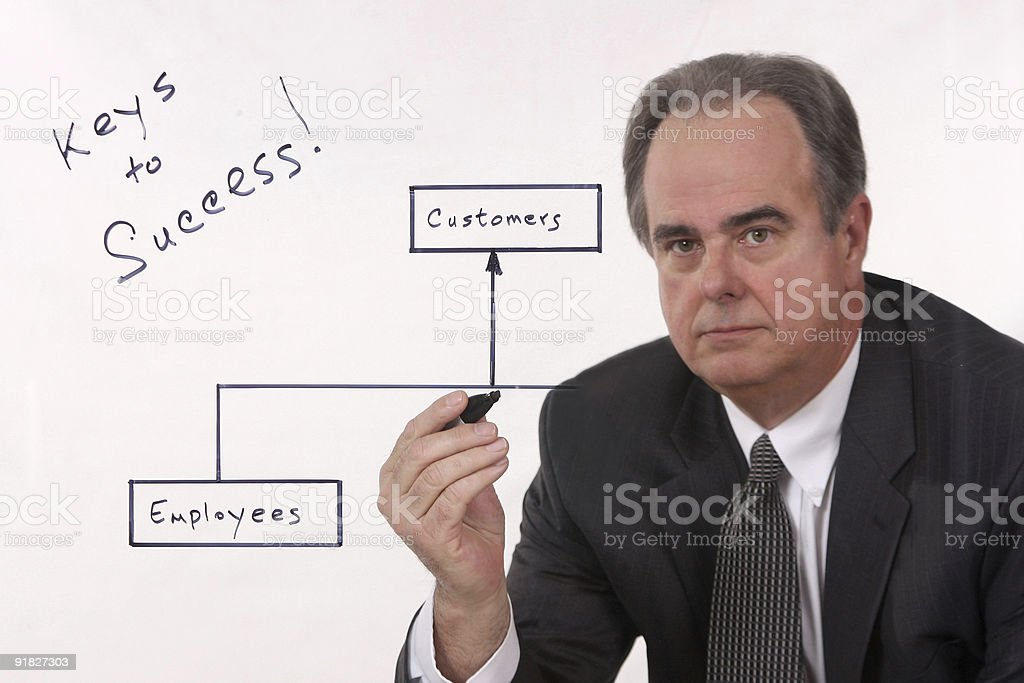 Businessman writing on a virtual whiteboard. royalty-free stock photo