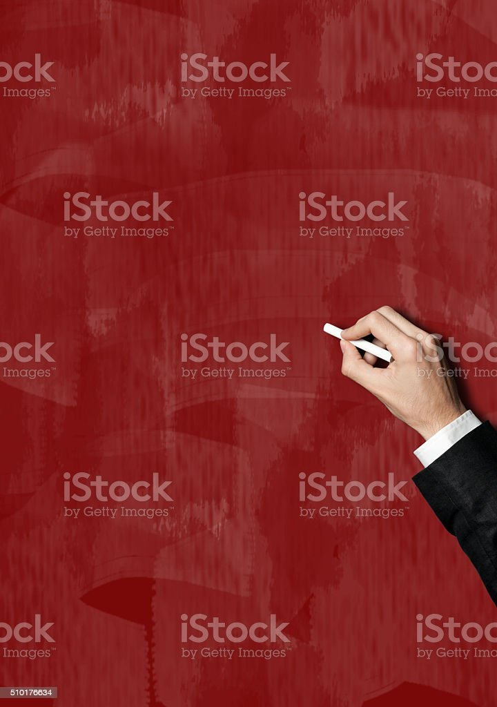 Businessman writing on board / Red board (Click for more) stock photo
