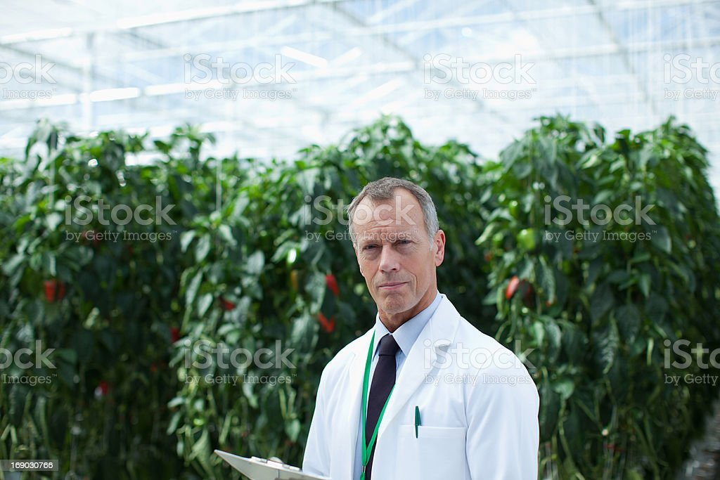 Businessman writing on clipboard in greenhouse royalty-free stock photo
