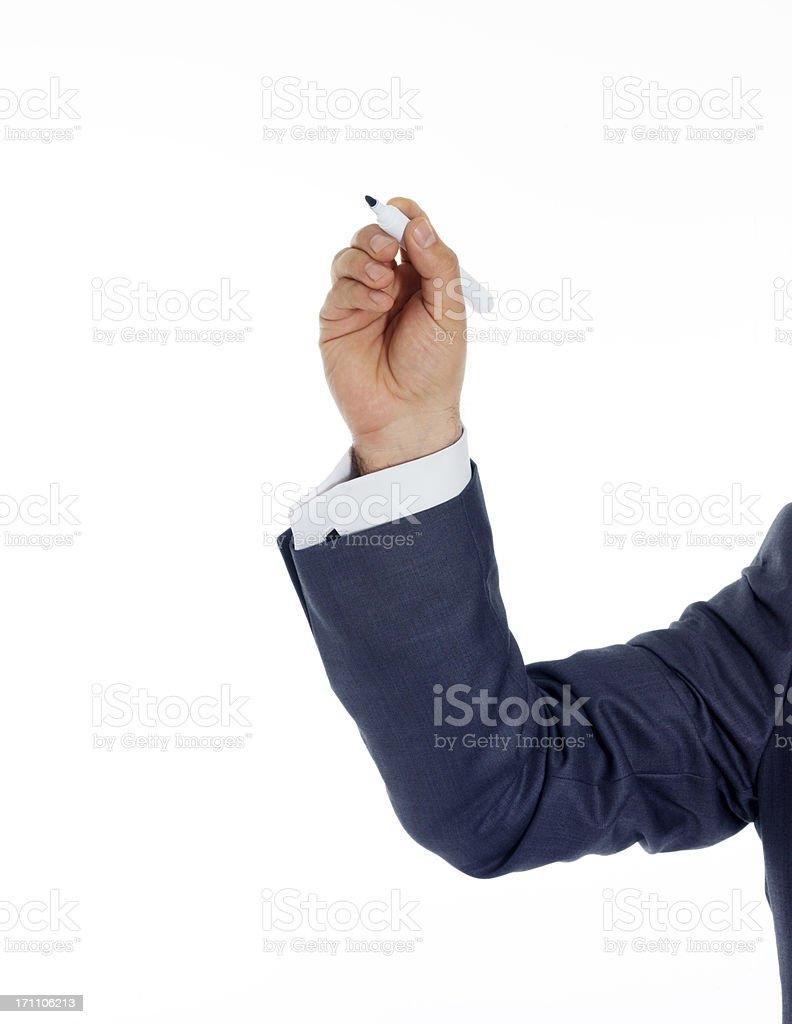 Businessman writing on screen royalty-free stock photo