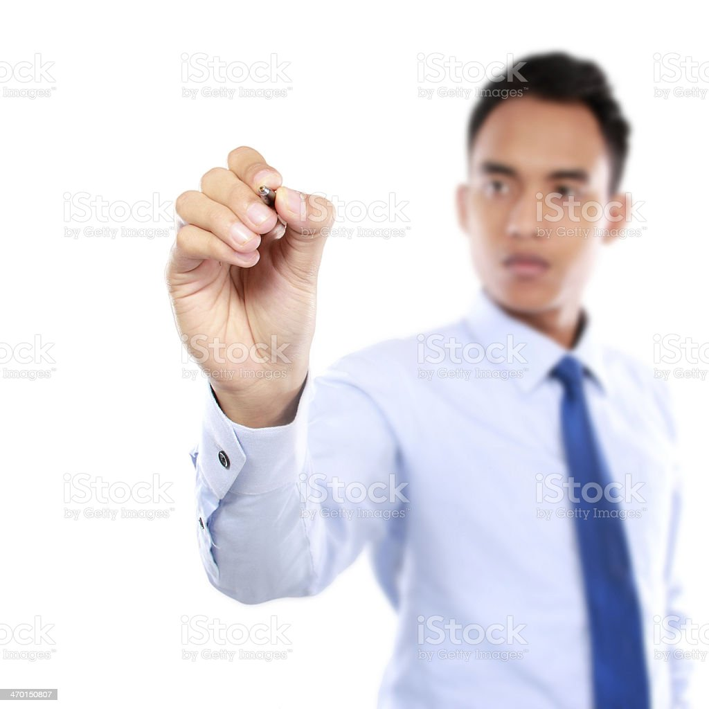 Businessman writing on the screen royalty-free stock photo