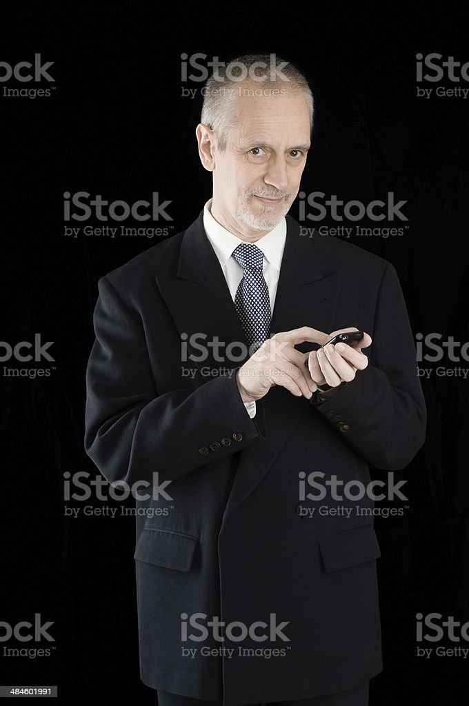 Businessman Writing Sms on Phone stock photo