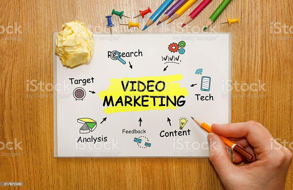 Businessman writing Video Marketing concept in his Notebook stock photo