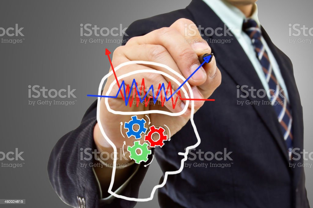 Businessman wrote Brain concept stock photo