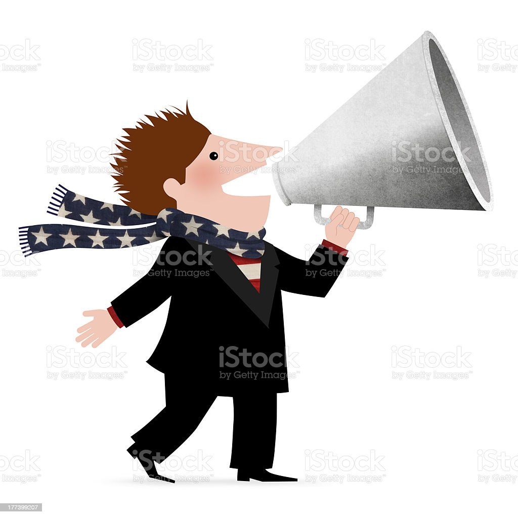 Businessman yelling in a megaphone stock photo