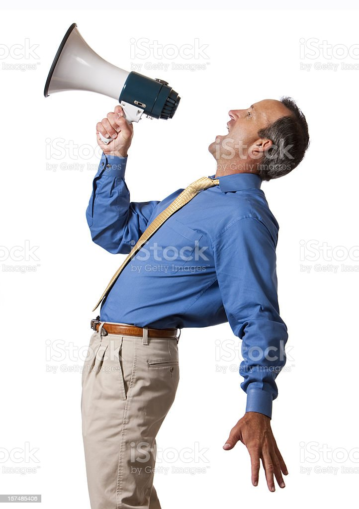 Businessman Yelling into Megaphone royalty-free stock photo