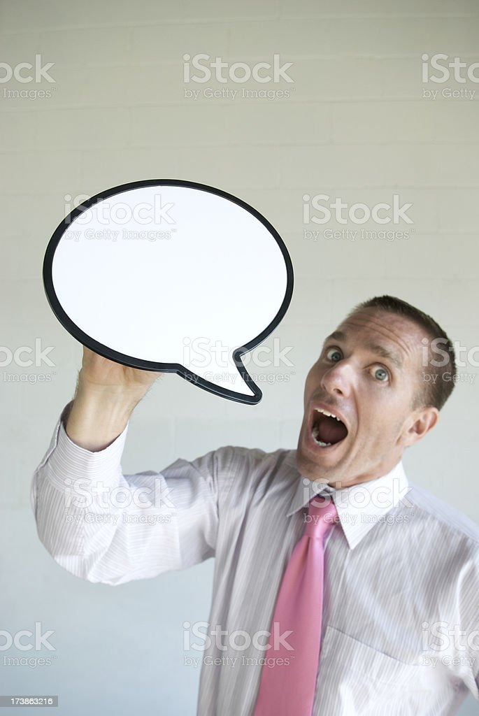 Businessman Yells with Speech Bubble royalty-free stock photo