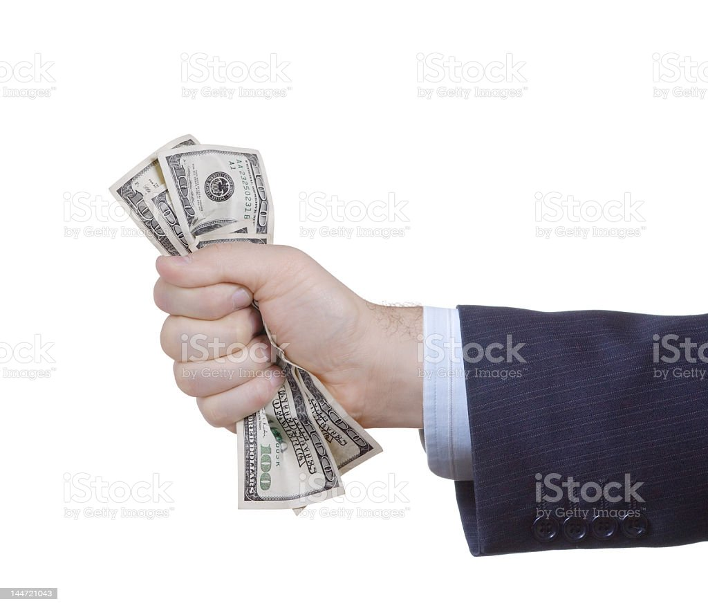 Businessman's arm holding money isolated on white  royalty-free stock photo