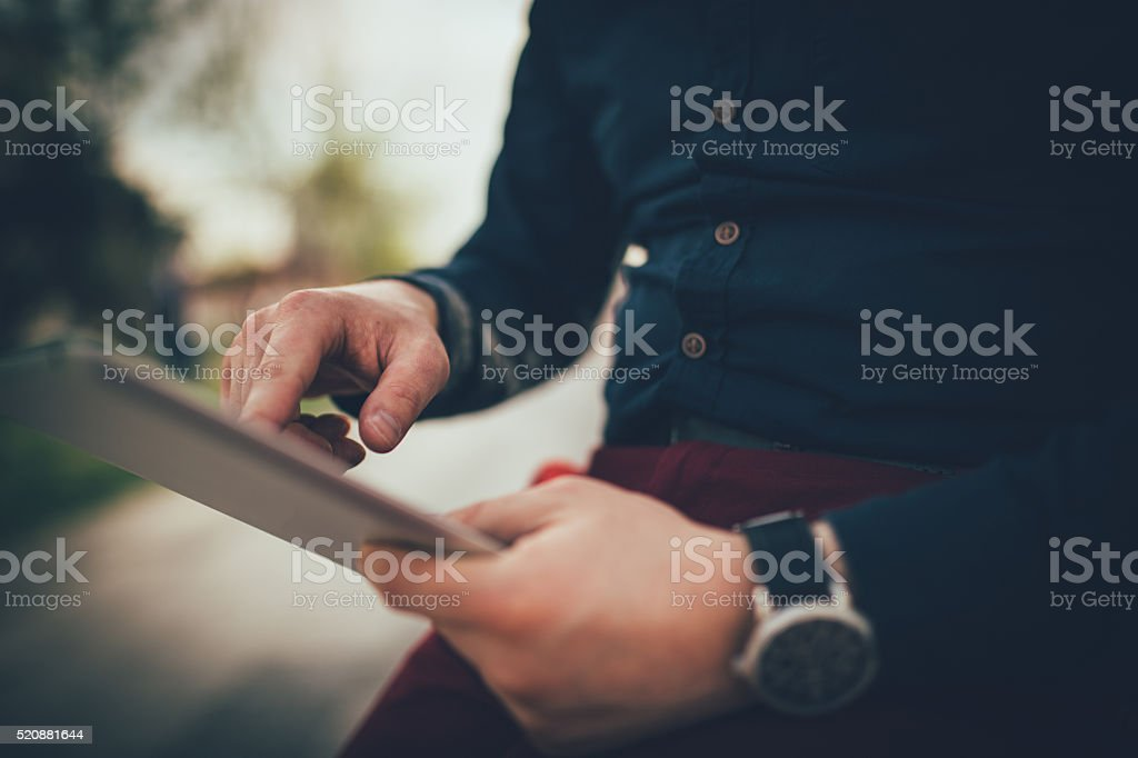 Businessmans diligent hands stock photo
