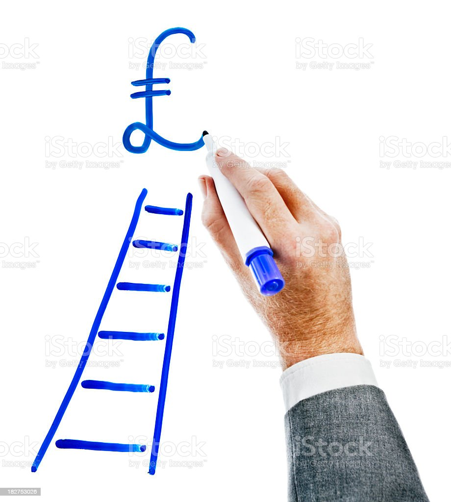 Businessman's hand draws pound sign above ladder. royalty-free stock photo